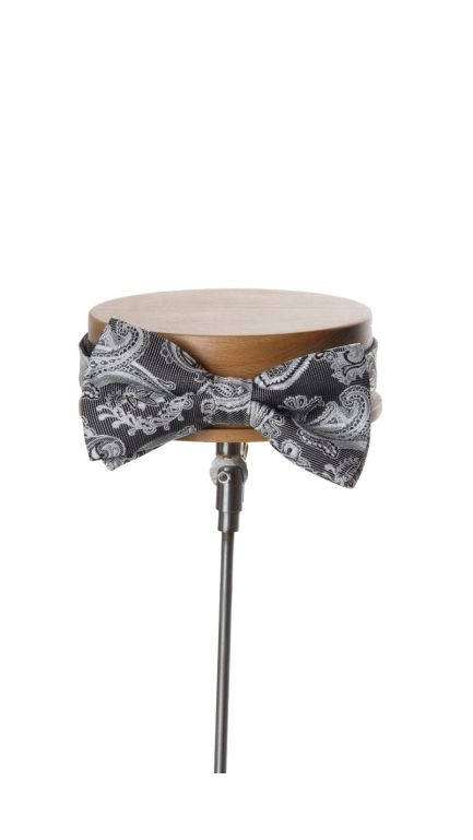 Come together paisley bow tie-black & ivory