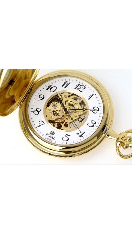 Royal London double hunter mechanical pocket watch & chain
