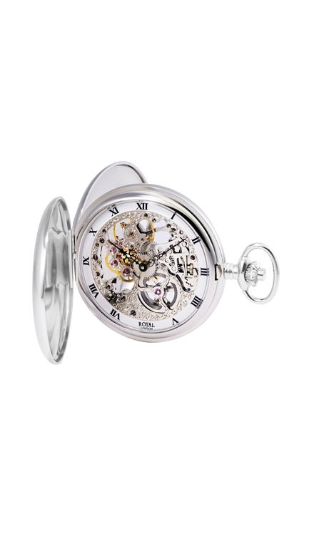 Royal London double hunter pocket watch & chain mechanical