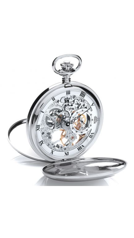 Royal London double hunter skeleton mechanical pocket watch & chain