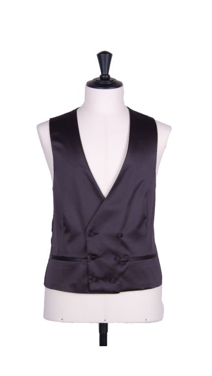 Plain Duchess satin black collarless DB waistcoat-black