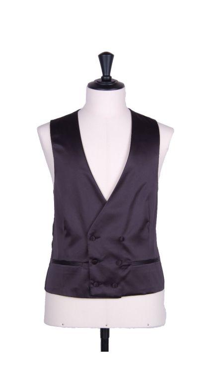 Plain Duchess satin black collarless DB waistcoat
