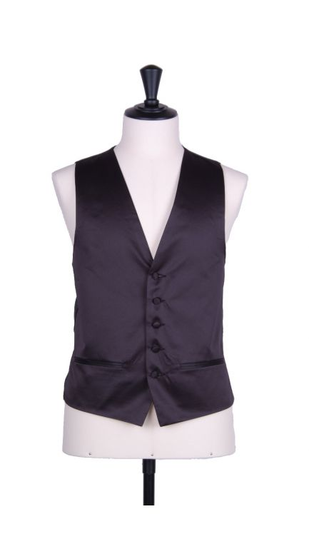 Plain Duchess satin black single breasted waistcoat