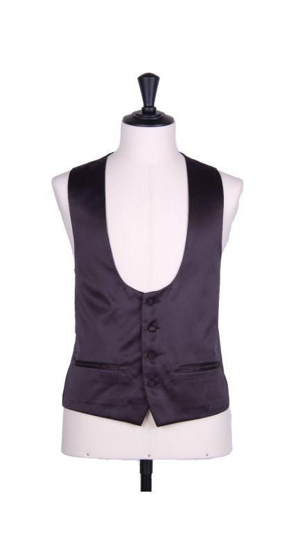 Plain Duchess satin black scoop waistcoat