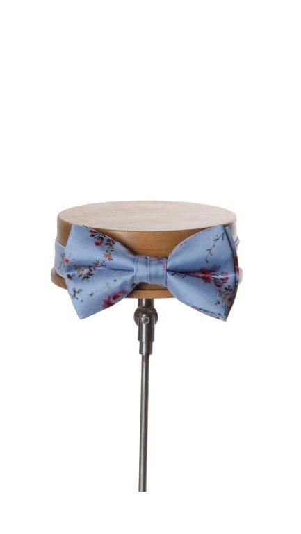 Tea rose bow tie-blue
