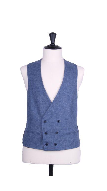 Lambs wool collarless DB waistcoat-airforce blue