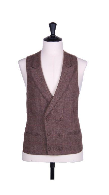 English tweed double breasted waistcoat