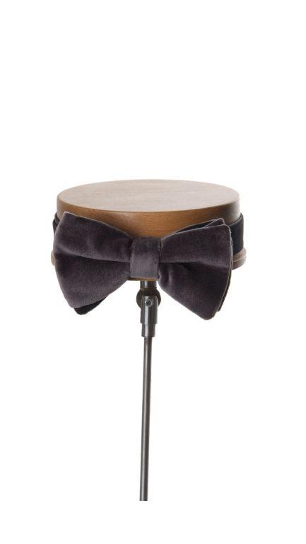 Velvet bow tie-grey