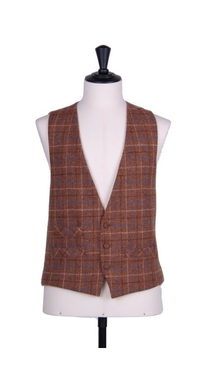 Harris tweed single breasted waistcoat