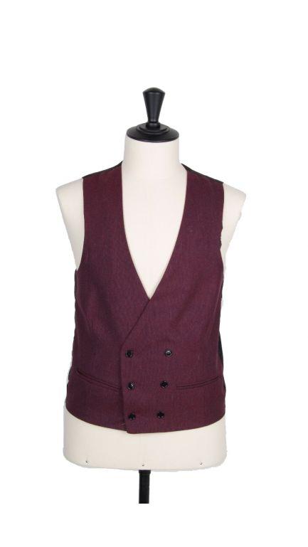 Lambs wool collarless DB waistcoat-burgundy