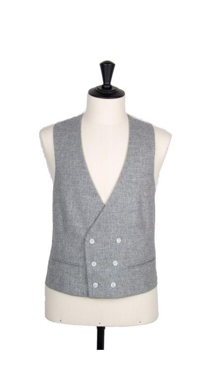 Lambs wool collarless DB waistcoat-grey