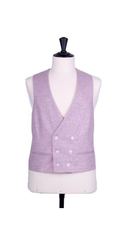Lambs wool collarless DB waistcoat-lilac