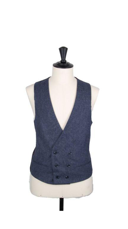 Lambs wool collarless DB waistcoat-navy