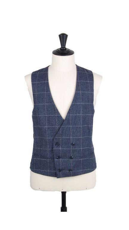 Lambs wool check collarless DB waistcoat-navy