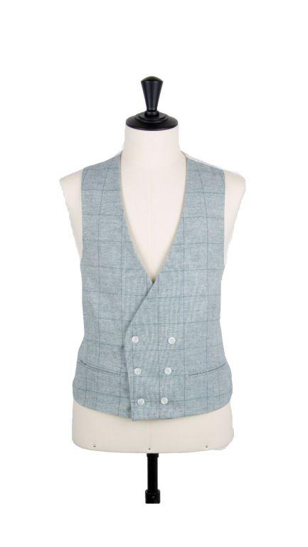 Lambs wool check collarless DB waistcoat-sky blue