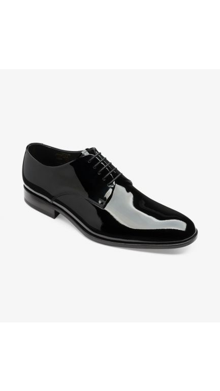 Loake bow black patent shoes