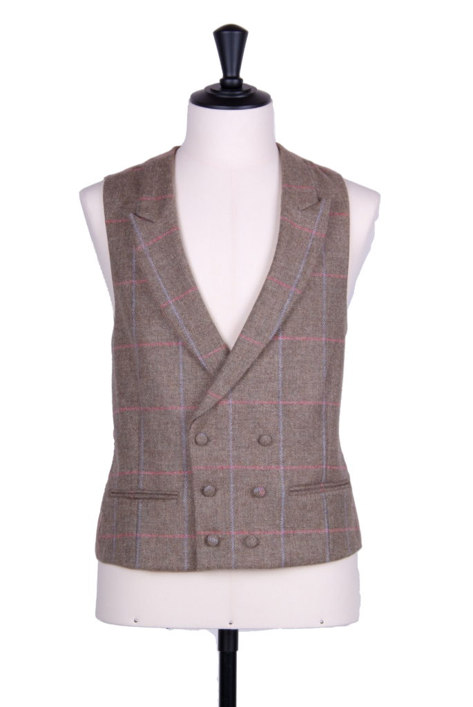 English tweed latte check DB waistcoat