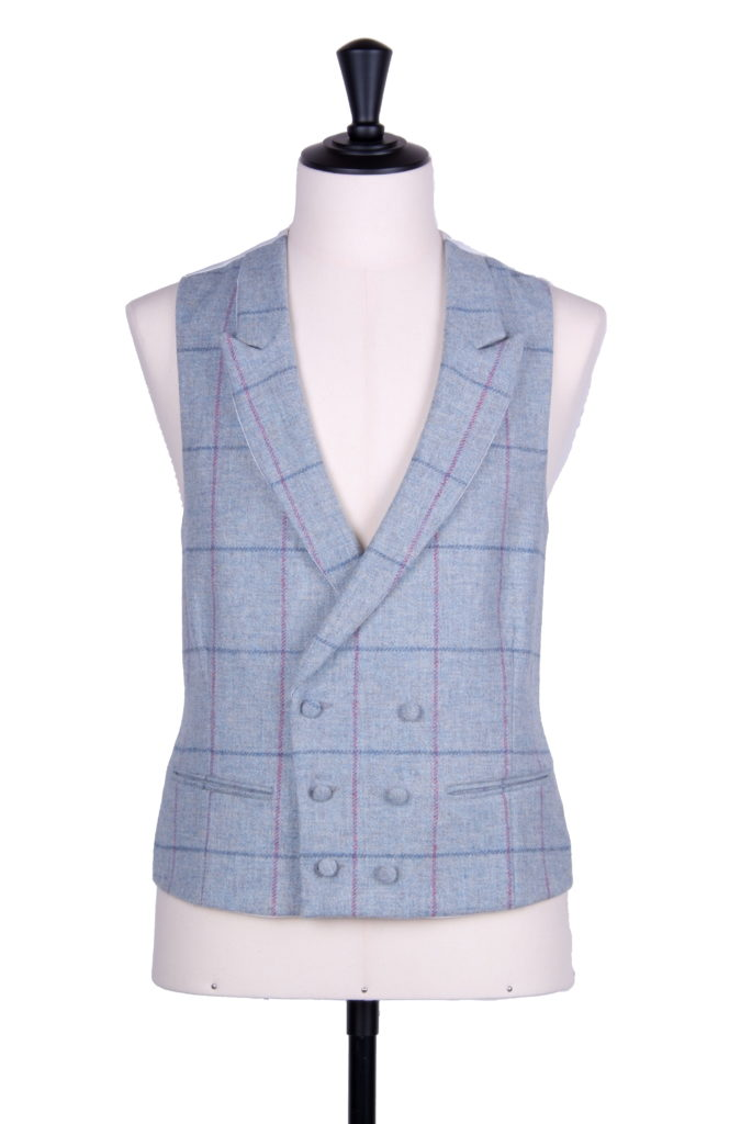 English tweed waistcoat DB sky pink check