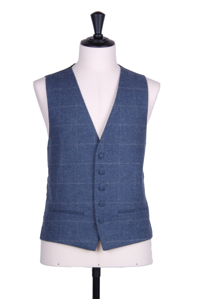 English tweed blue grey check waistcoat