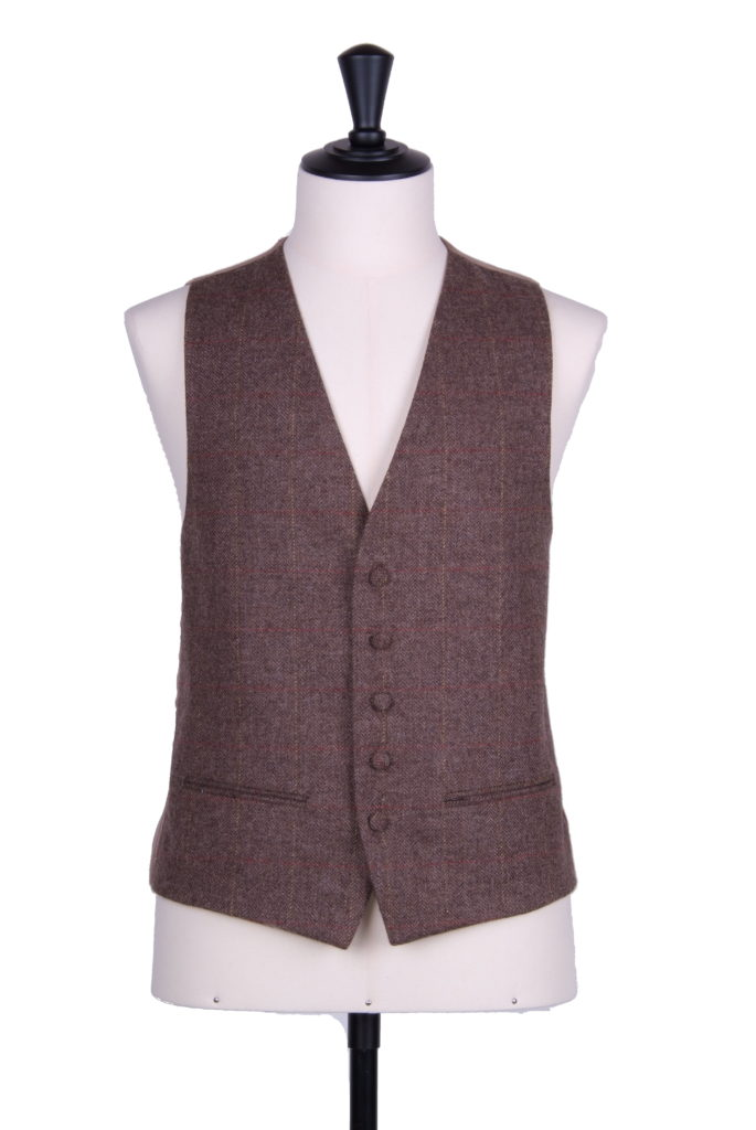 English tweed brown check SB waistcoat