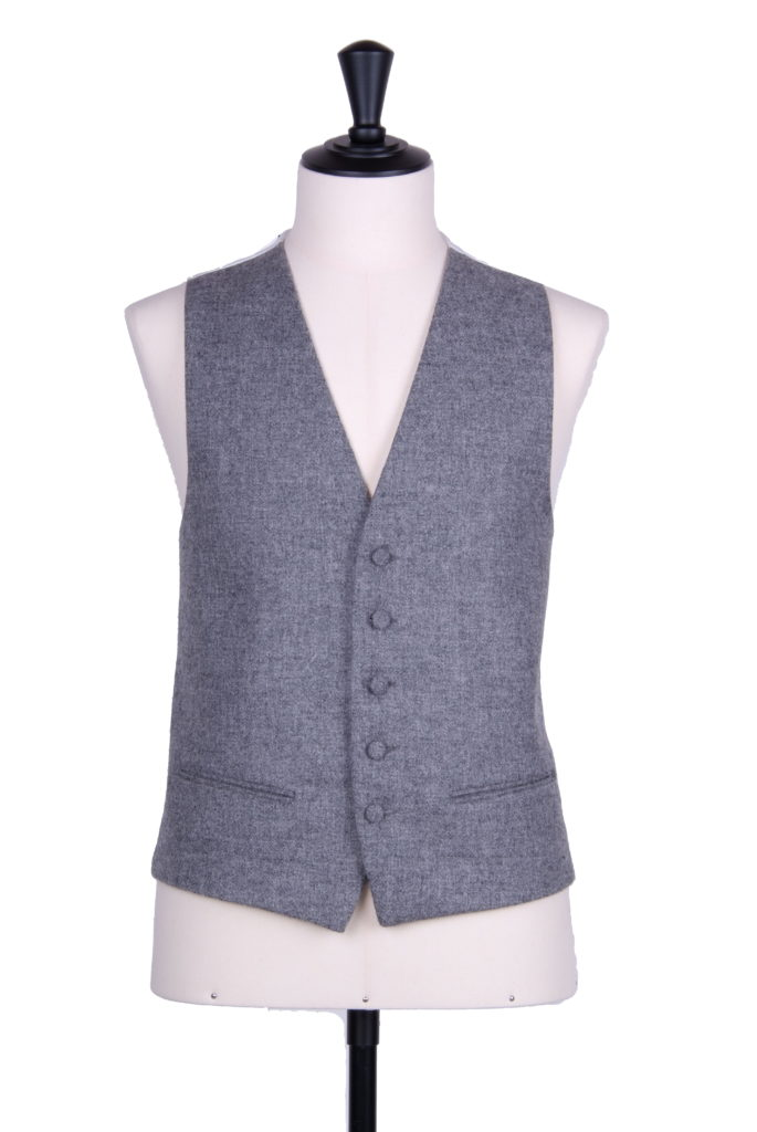 Flannel grey English tweed SB waistcoat