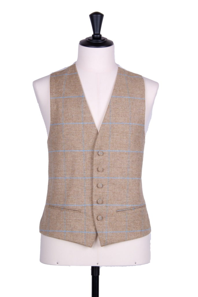 English tweed sand blue check SB waistcoat