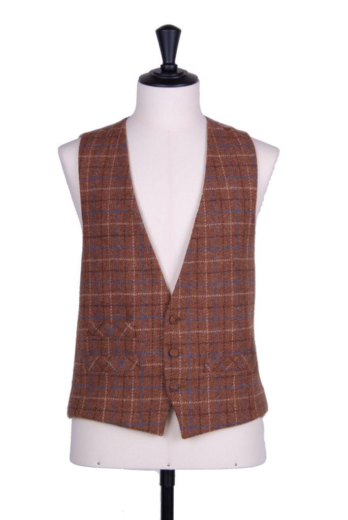 Brown & blue Harris tweed waistcoat