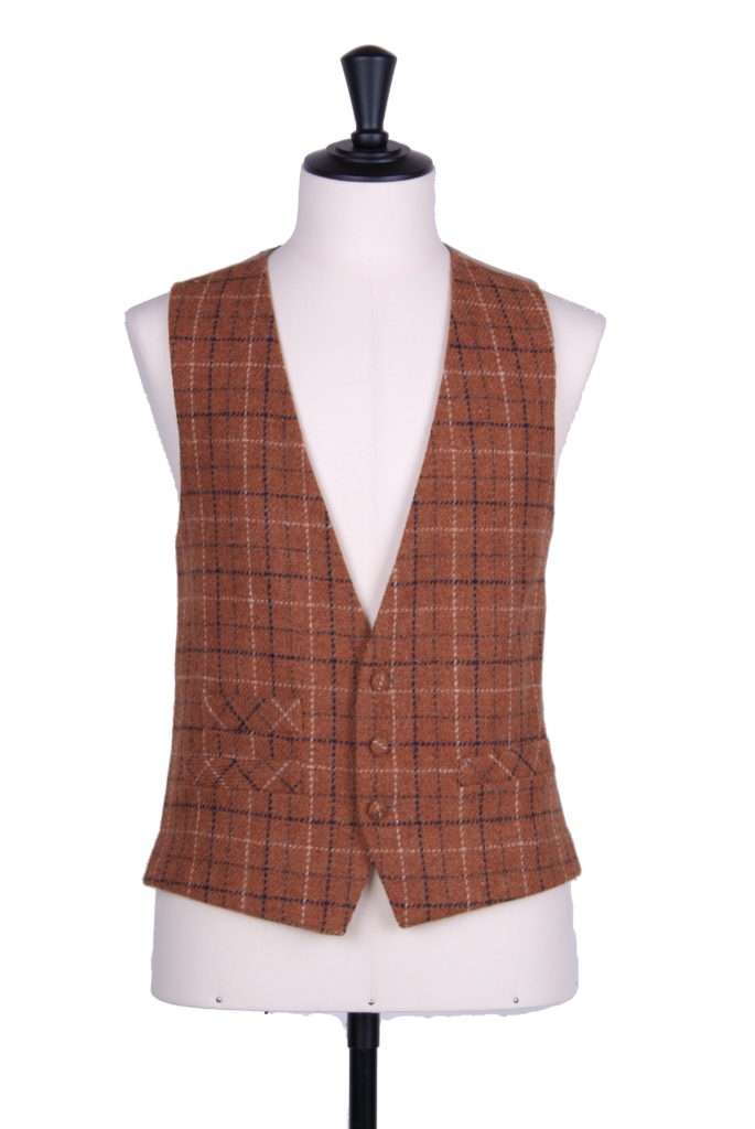 Brown and navy Harris tweed waistcoat