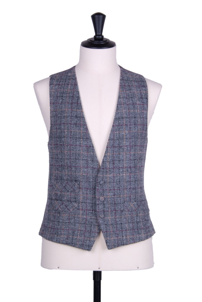 Harris tweed grey burgundy Anthony waistcoat